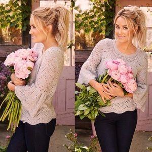 LC Lauren Conrad Sweaters - Lauren Conrad Pink Eyelet Bell Sleeve Sweater XL